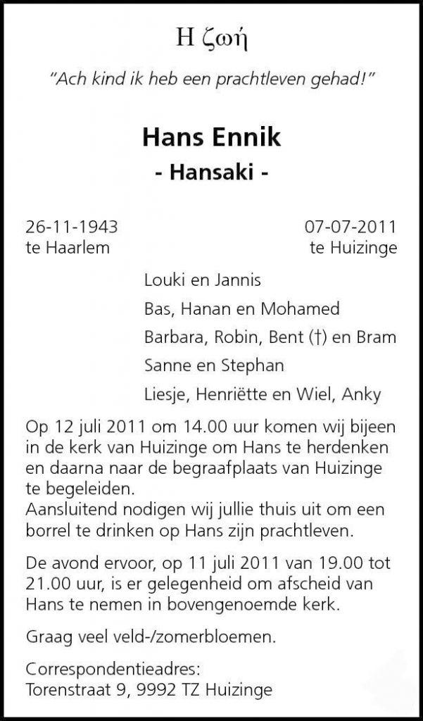 Overlijdensbericht Hans Ennik